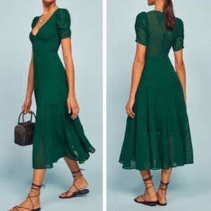 NWT Reformation Cosa Midi Dress in Emerald size 4